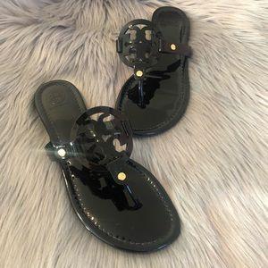 Tory Burch Miller Logo Patent Sandals Black 8 1/2